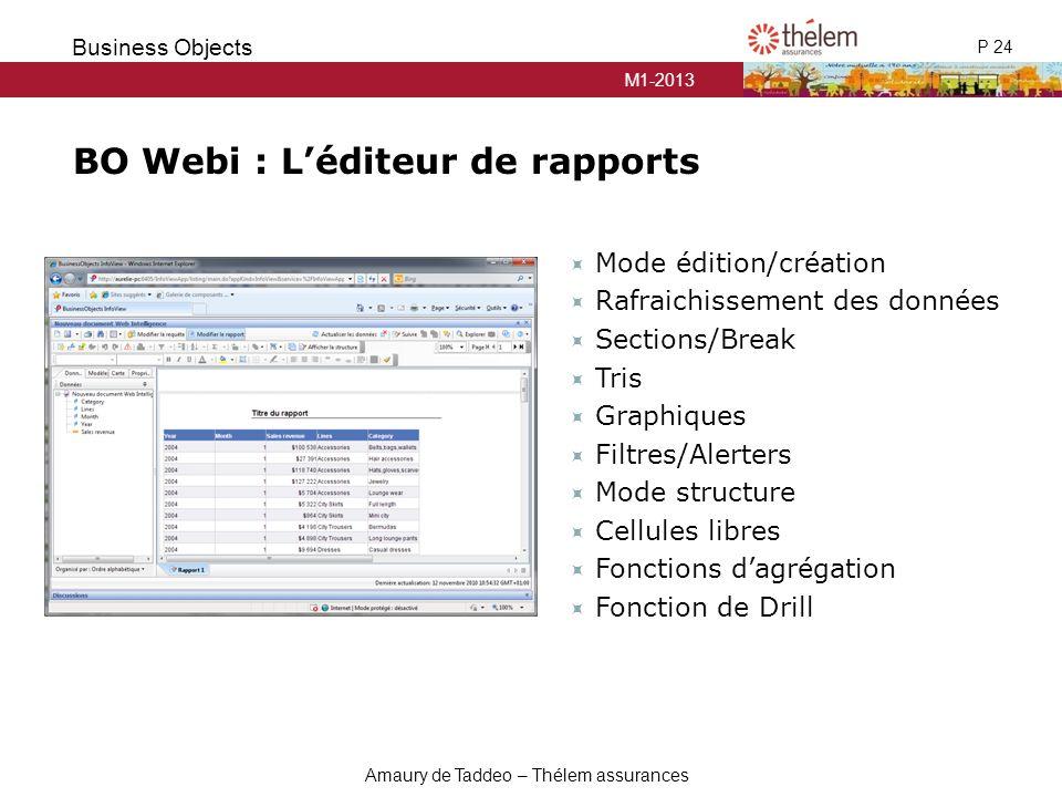 BO Webi : L'éditeur de rapports