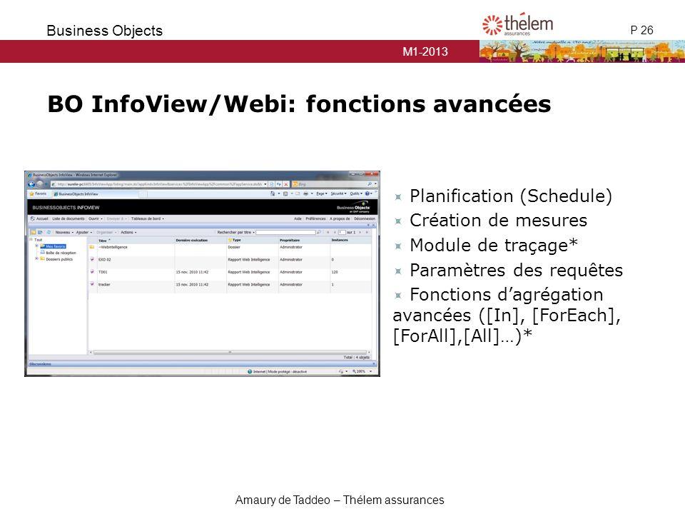 BO InfoView/Webi: fonctions avancées