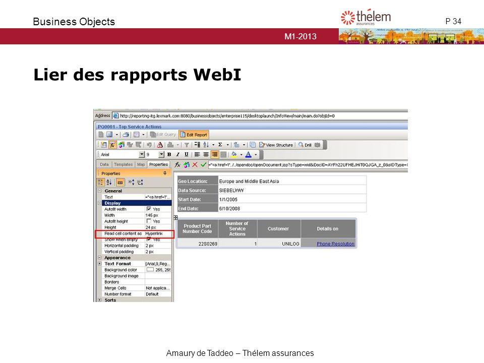 Lier des rapports WebI