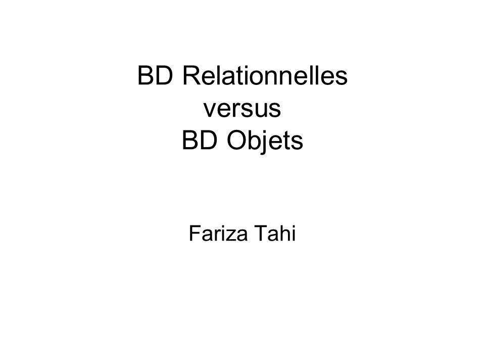 BD Relationnelles versus BD Objets Fariza Tahi