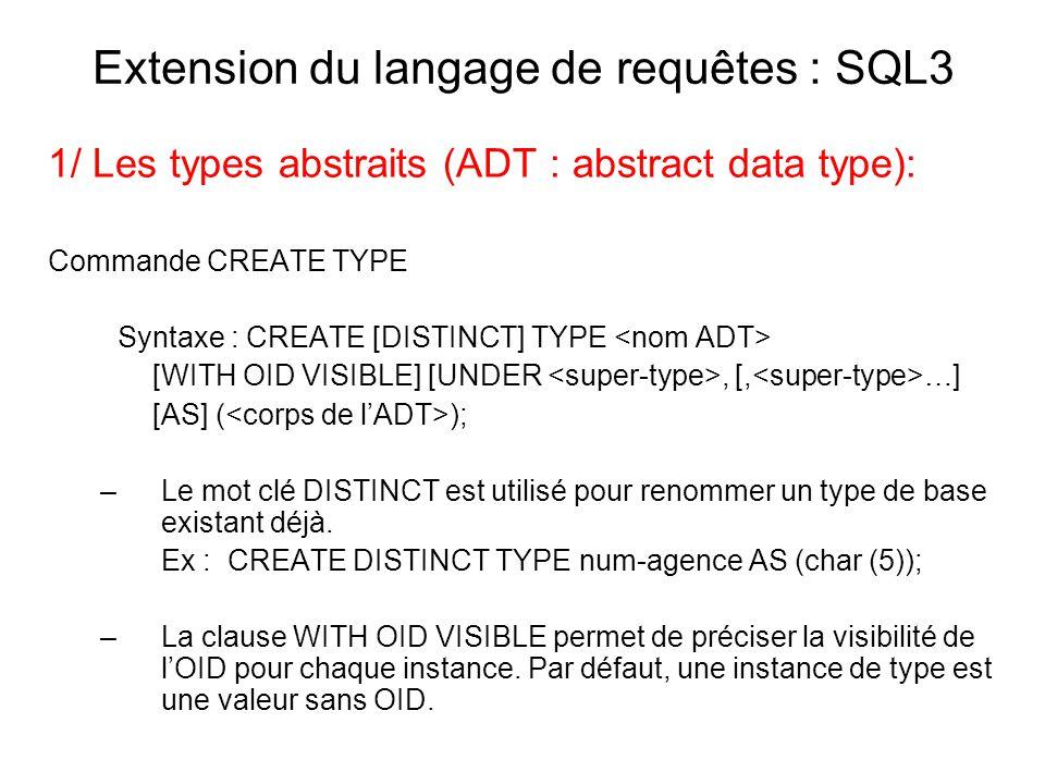 Extension du langage de requêtes : SQL3