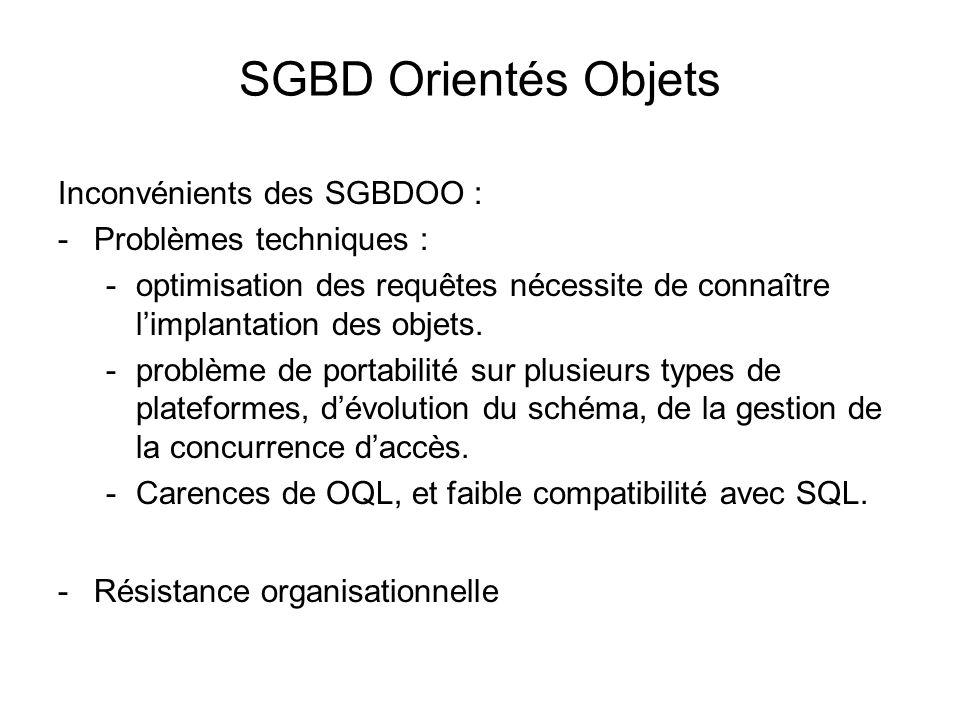 SGBD Orientés Objets Inconvénients des SGBDOO : Problèmes techniques :