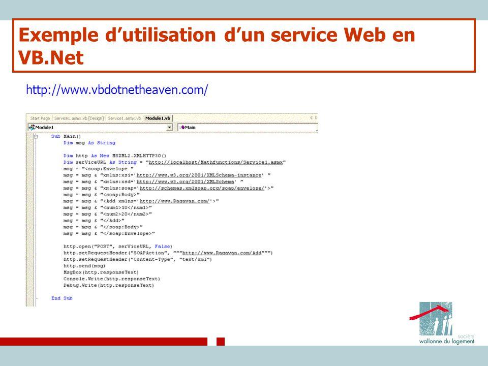 Exemple d'utilisation d'un service Web en VB.Net