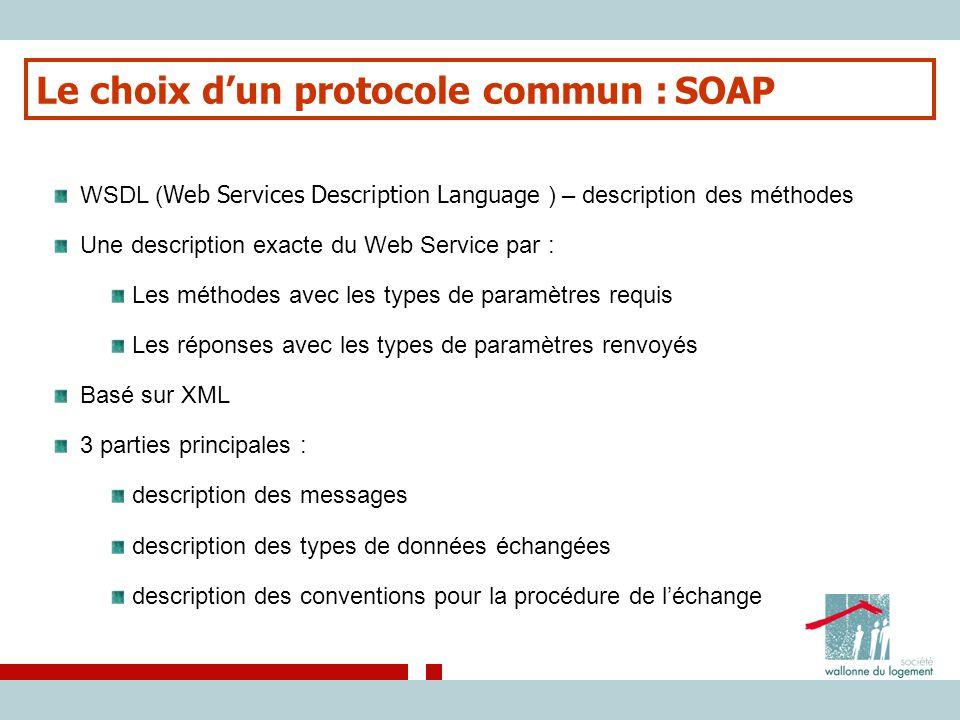 Le choix d'un protocole commun : SOAP