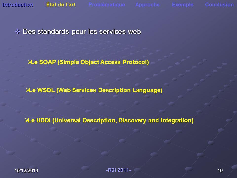 Des standards pour les services web
