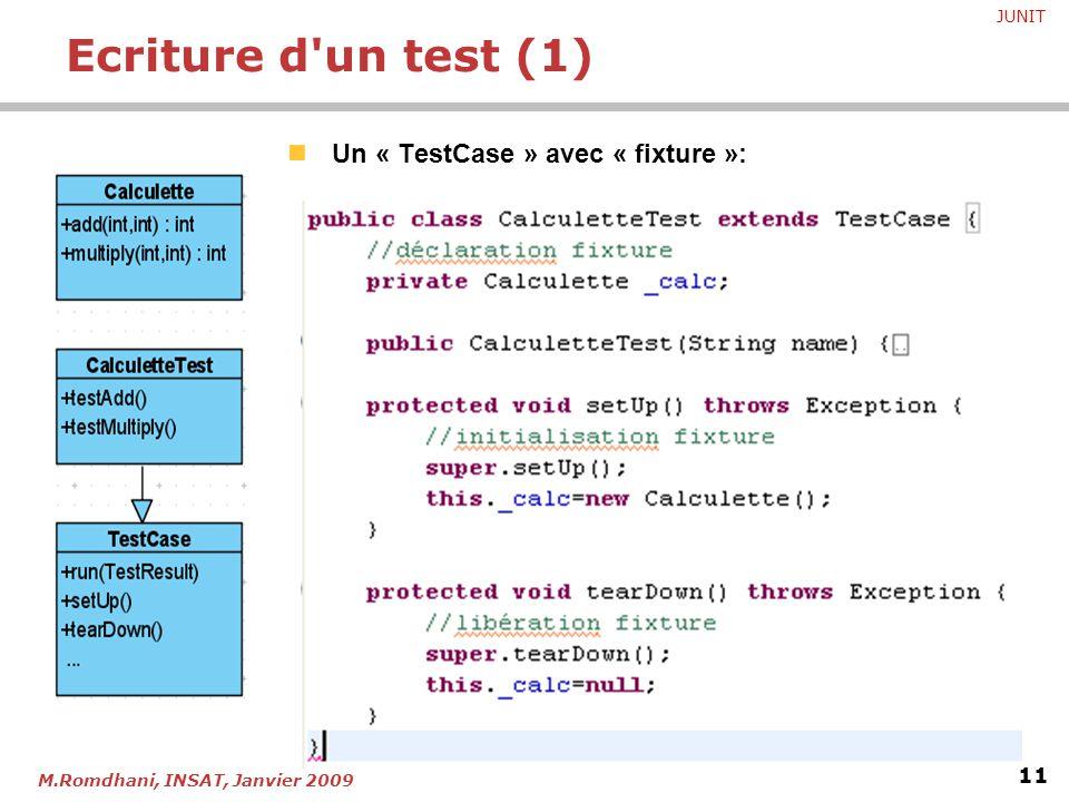 Ecriture d un test (1) Un « TestCase » avec « fixture »: