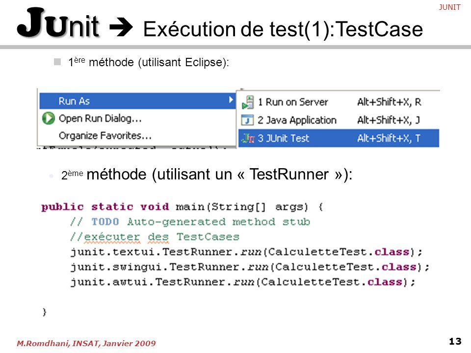 JUnit  Exécution de test(1):TestCase