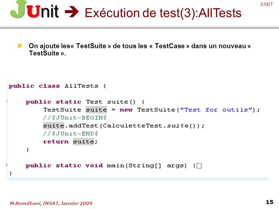JUnit  Exécution de test(3):AllTests