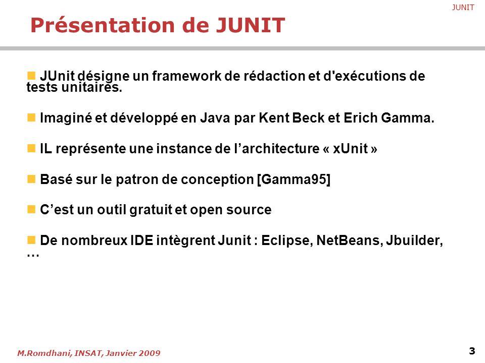 Présentation de JUNIT JUnit désigne un framework de rédaction et d exécutions de tests unitaires.
