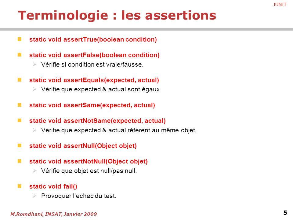 Terminologie : les assertions