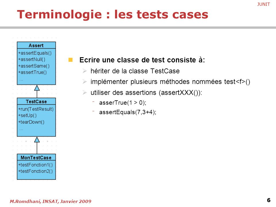Terminologie : les tests cases
