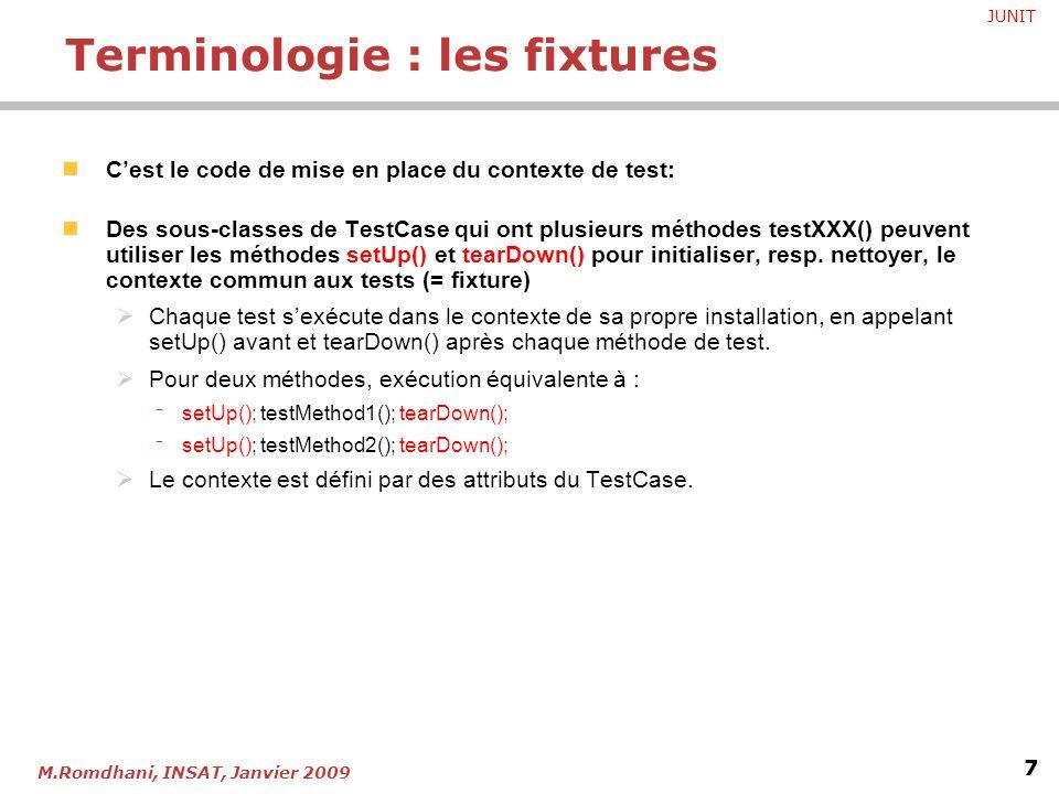 Terminologie : les fixtures