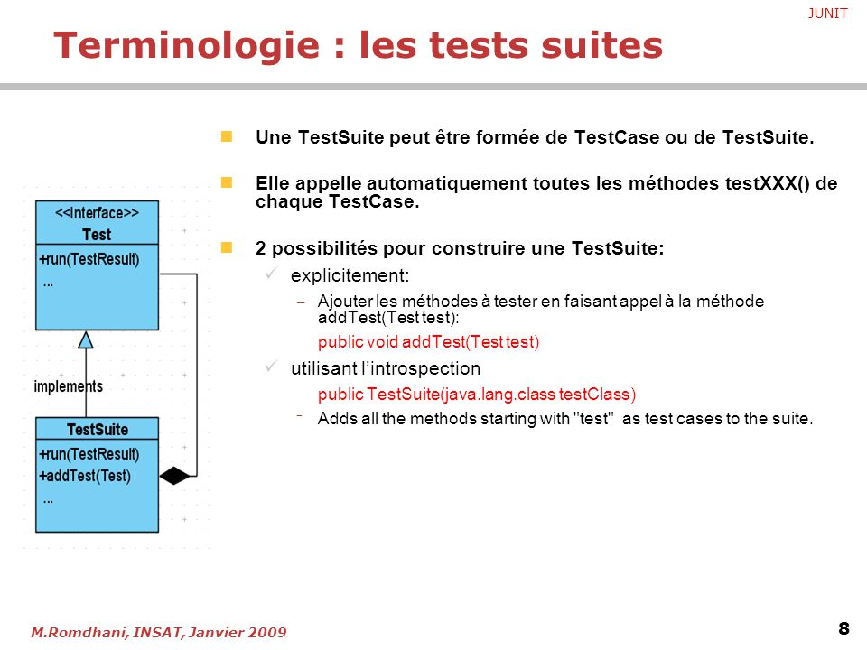 Terminologie : les tests suites