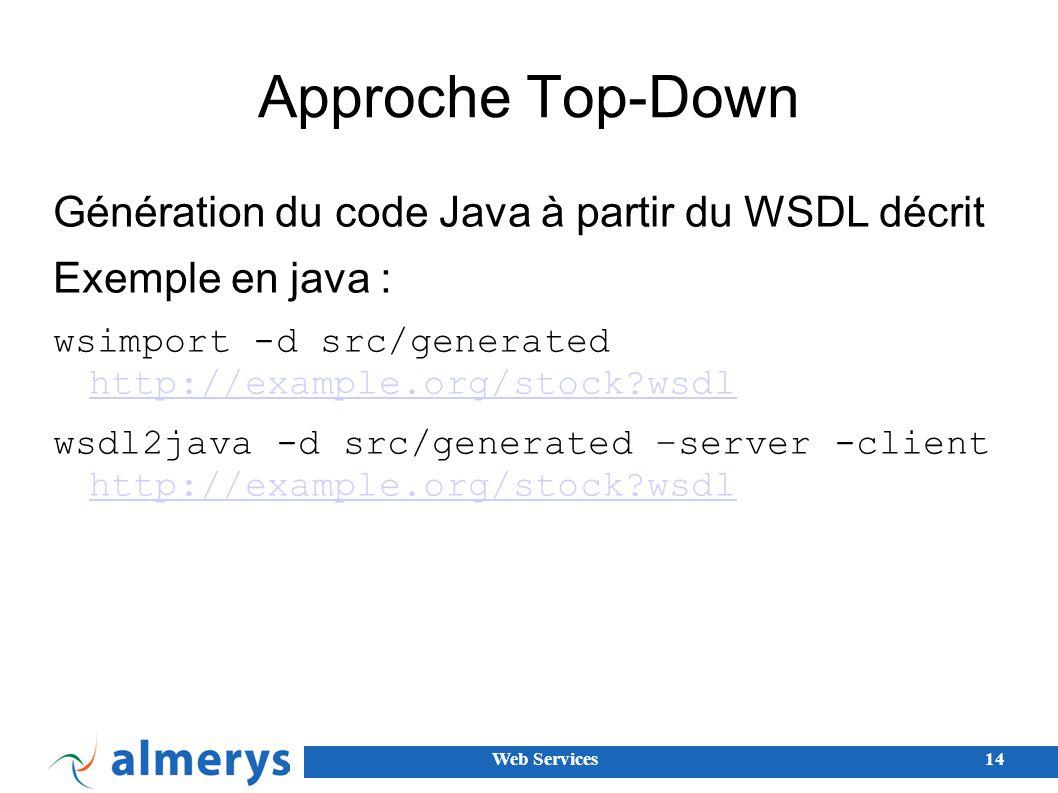 Approche Top-Down Génération du code Java à partir du WSDL décrit