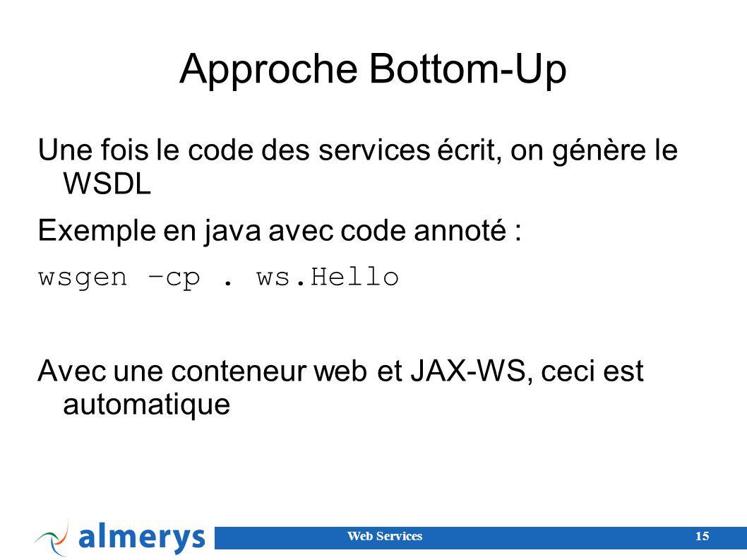 Approche Bottom-Up Une fois le code des services écrit, on génère le WSDL. Exemple en java avec code annoté :