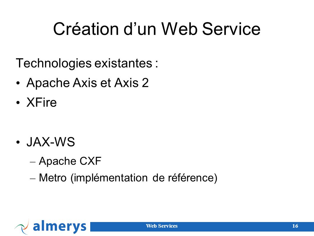 Création d'un Web Service