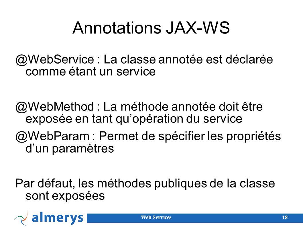 Annotations JAX-WS @WebService : La classe annotée est déclarée comme étant un service.