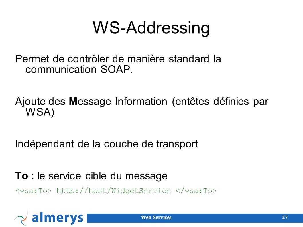 WS-Addressing Permet de contrôler de manière standard la communication SOAP. Ajoute des Message Information (entêtes définies par WSA)