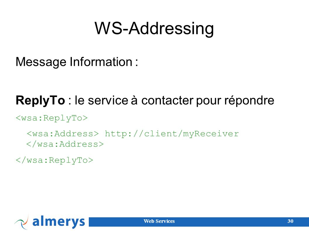 WS-Addressing Message Information :