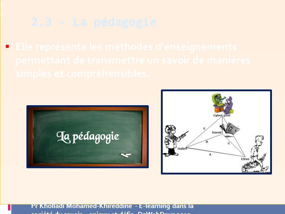 Elle représente les méthodes d enseignements permettant de transmettre un savoir de manières simples et compréhensibles.