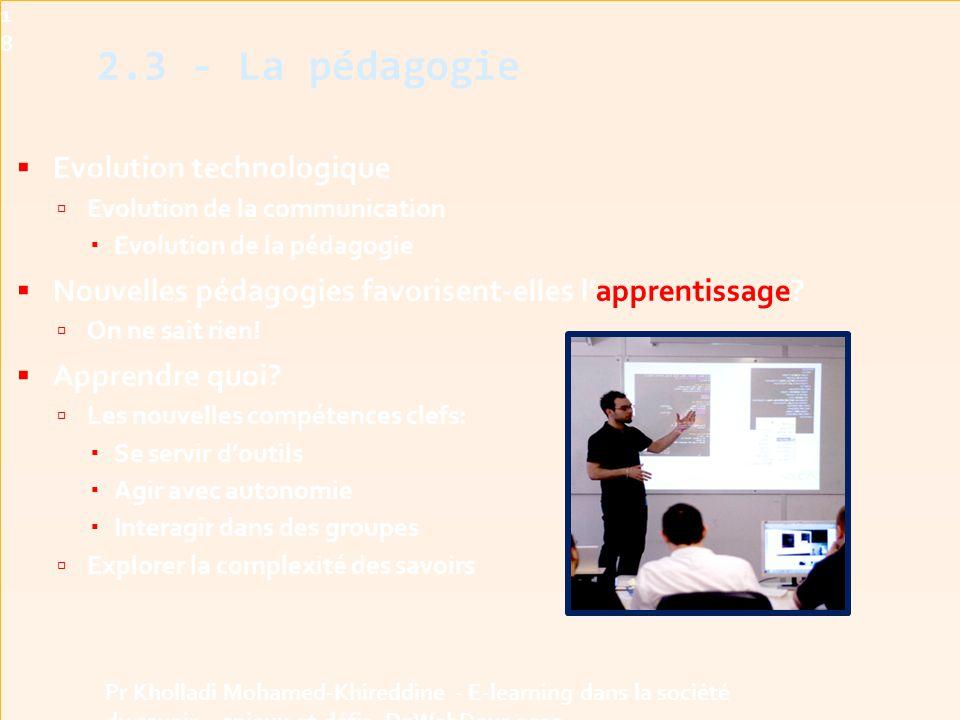 2.3 - La pédagogie Evolution technologique