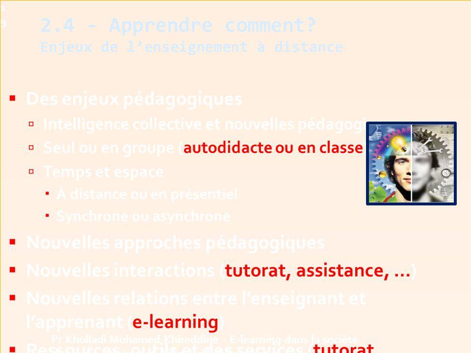 2.4 - Apprendre comment Enjeux de l'enseignement à distance