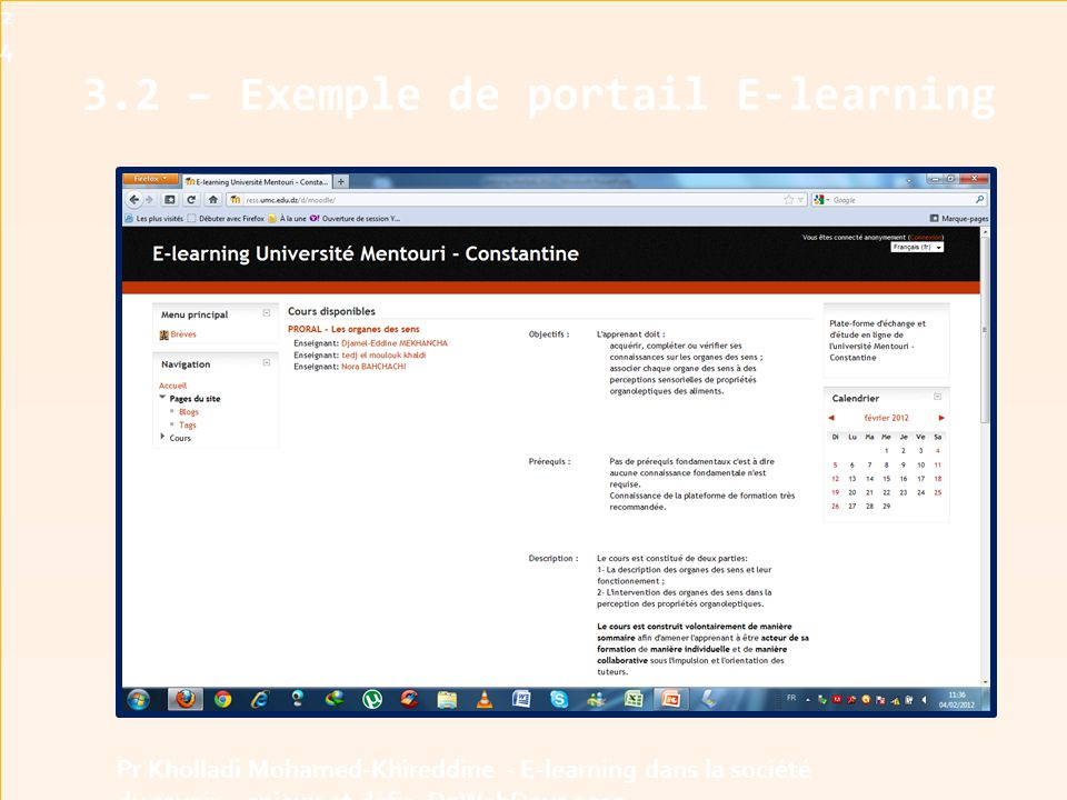 3.2 – Exemple de portail E-learning