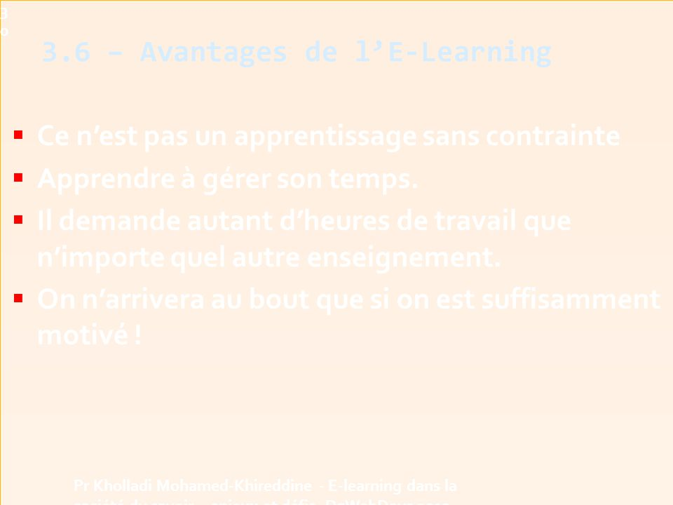 3.6 – Avantages de l'E-Learning