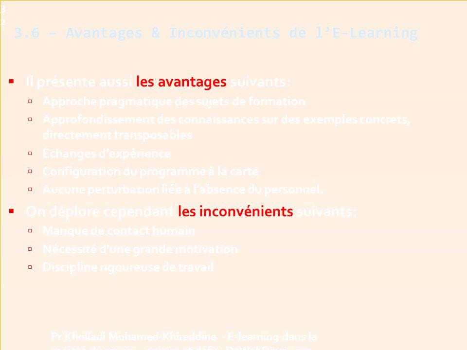3.6 – Avantages & Inconvénients de l'E-Learning