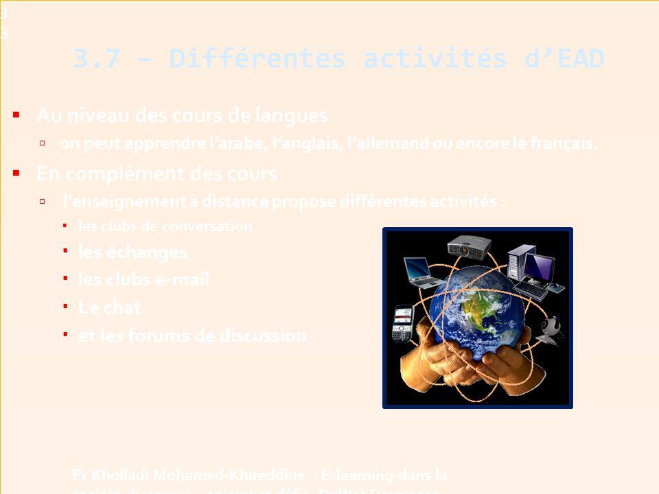 3.7 – Différentes activités d'EAD