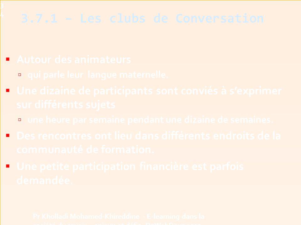 3.7.1 – Les clubs de Conversation