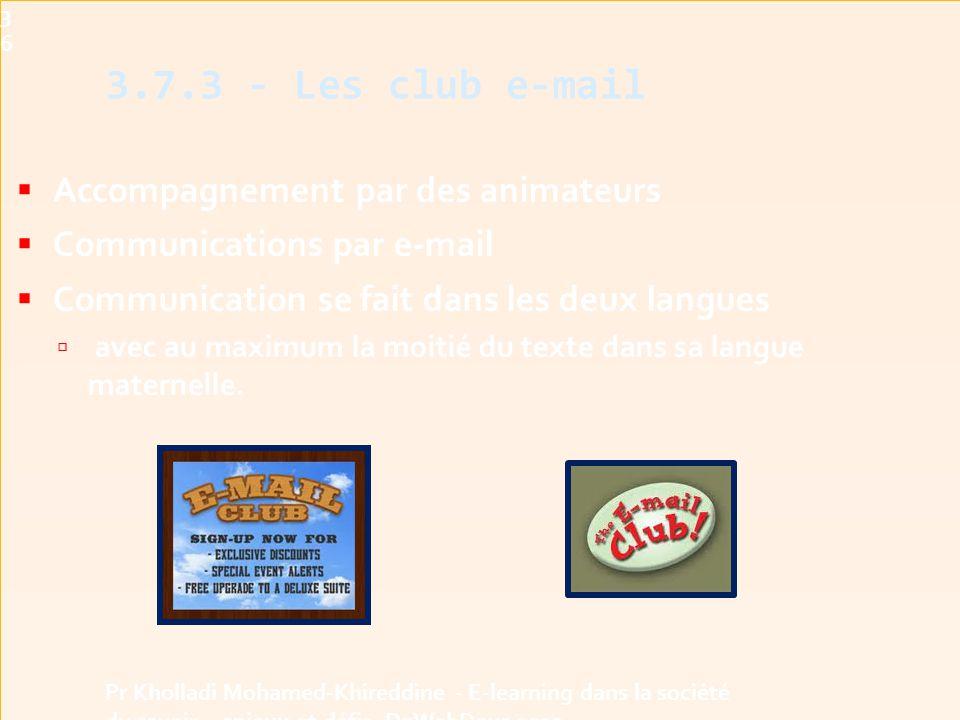 3.7.3 - Les club e-mail Accompagnement par des animateurs