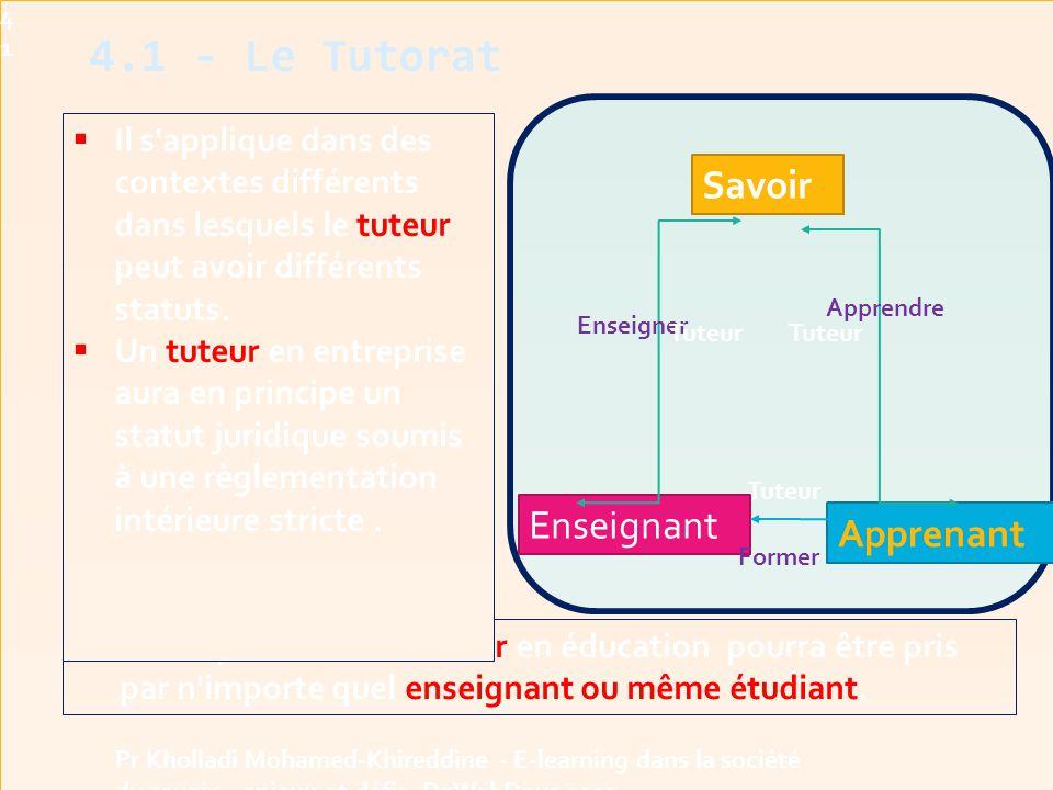 4.1 - Le Tutorat Savoir Enseignant Apprenant
