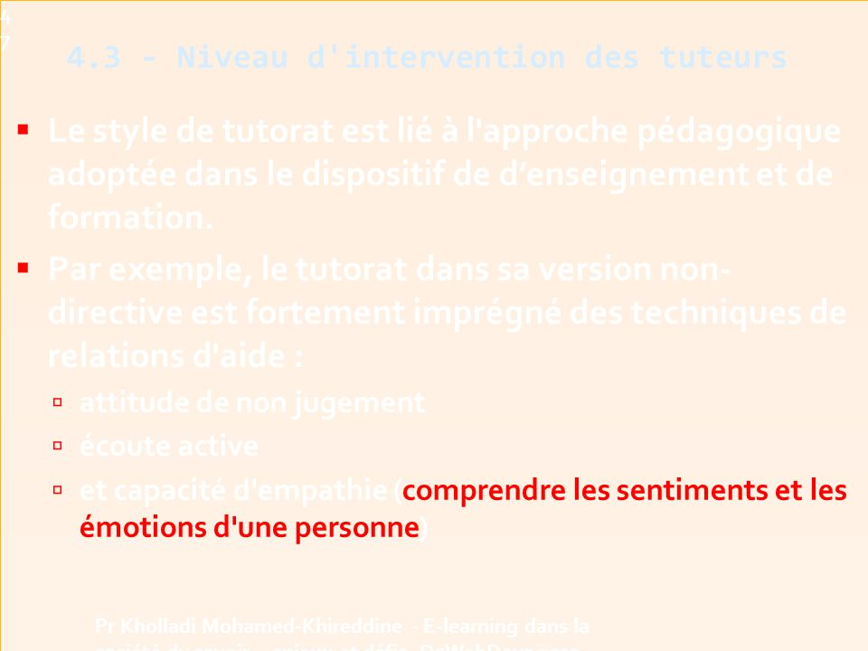 4.3 - Niveau d intervention des tuteurs