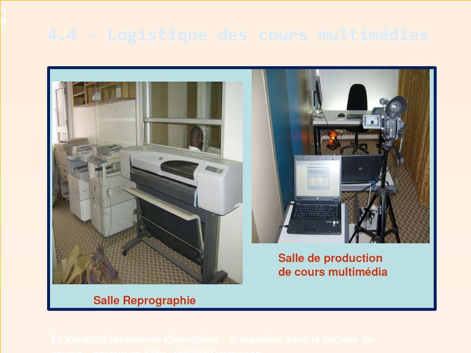 4.4 - Logistique des cours multimédias