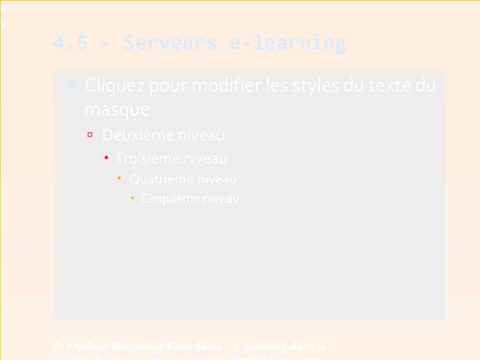 4949 4.5 - Serveurs e-learning. Cliquez pour modifier les styles du texte du masque. Deuxième niveau.