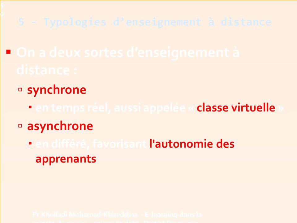 5 - Typologies d'enseignement à distance