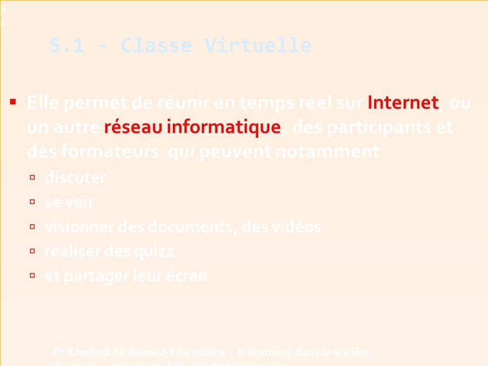 Elle permet de réunir en temps réel sur Internet, ou un autre réseau informatique, des participants et des formateurs qui peuvent notamment