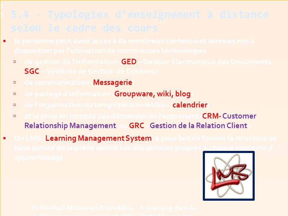 5.4 - Typologies d'enseignement à distance selon le cadre des cours