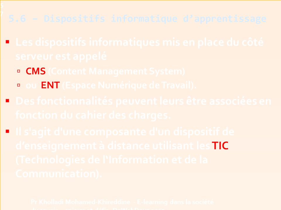5.6 – Dispositifs informatique d'apprentissage