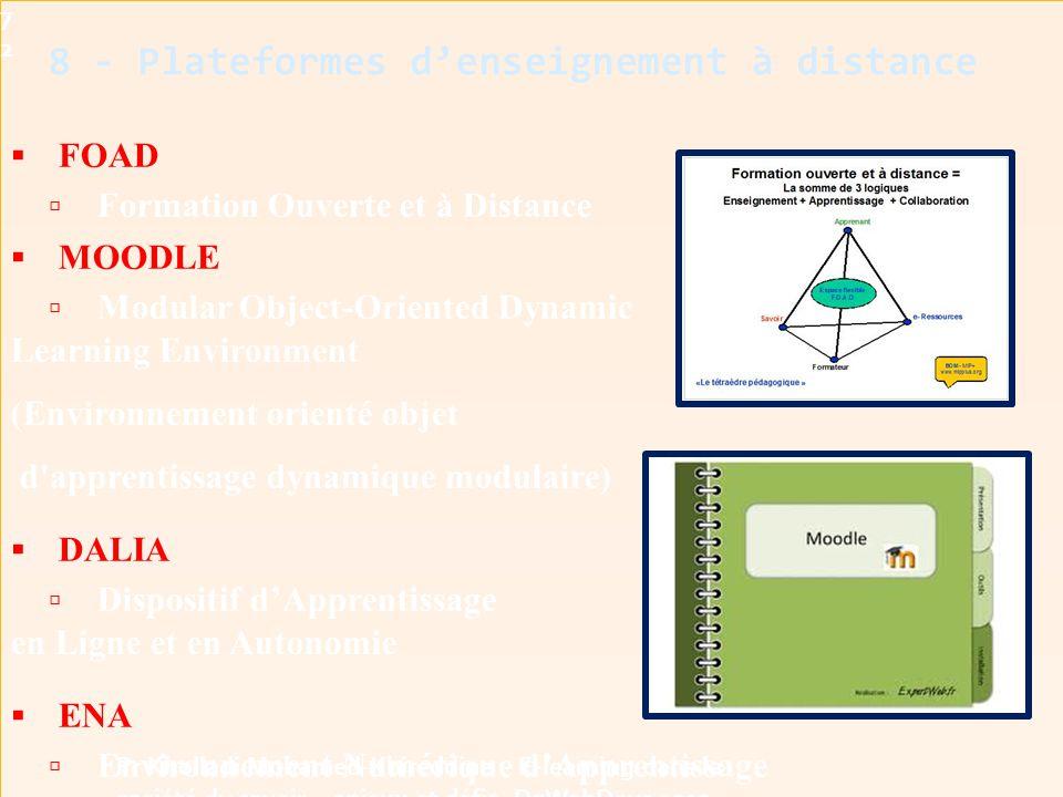 8 - Plateformes d'enseignement à distance