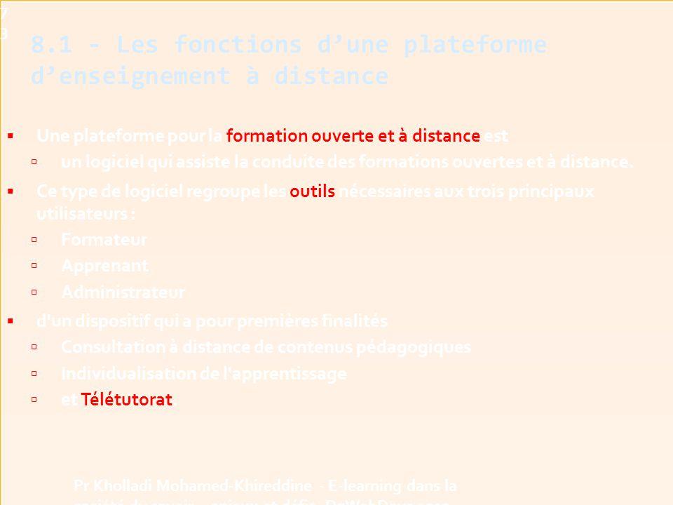 8.1 - Les fonctions d'une plateforme d'enseignement à distance