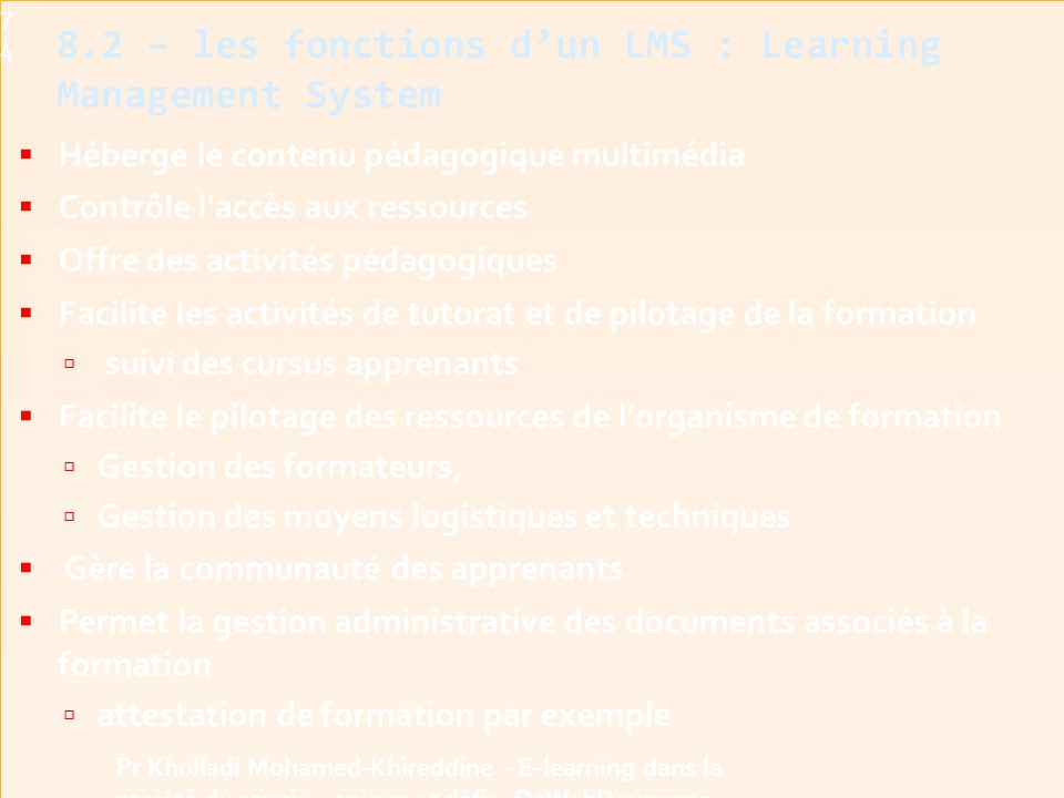 8.2 – les fonctions d'un LMS : Learning Management System