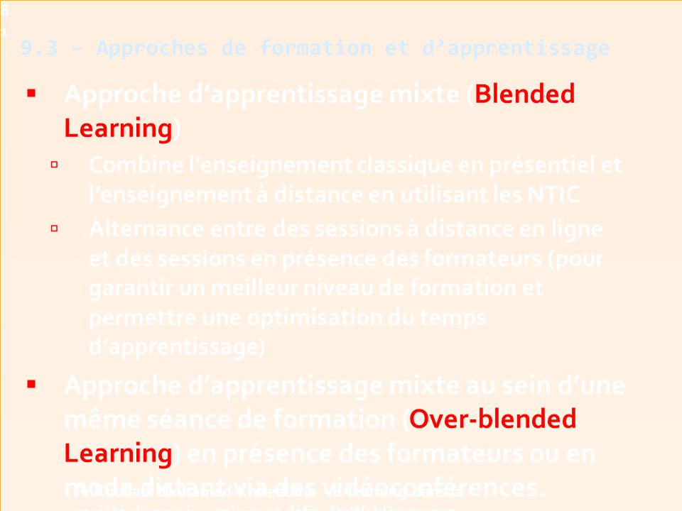 9.3 – Approches de formation et d'apprentissage