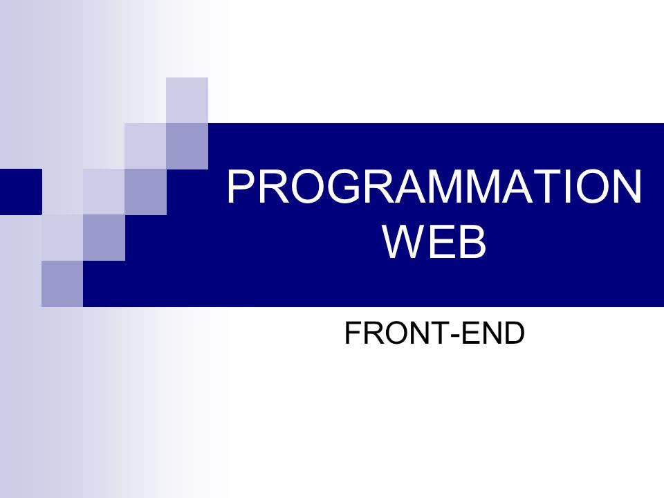 PROGRAMMATION WEB FRONT-END