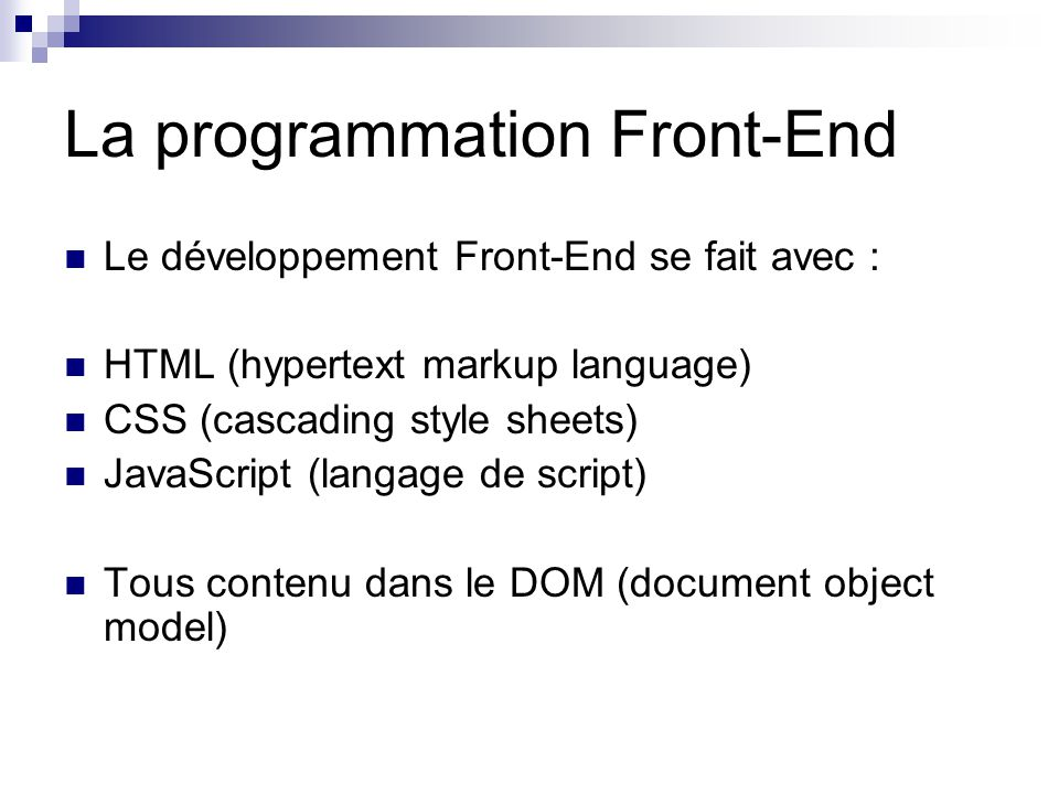 La programmation Front-End
