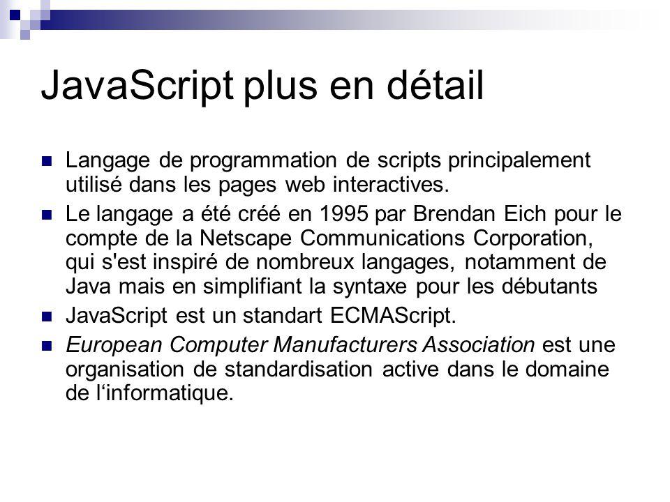 JavaScript plus en détail