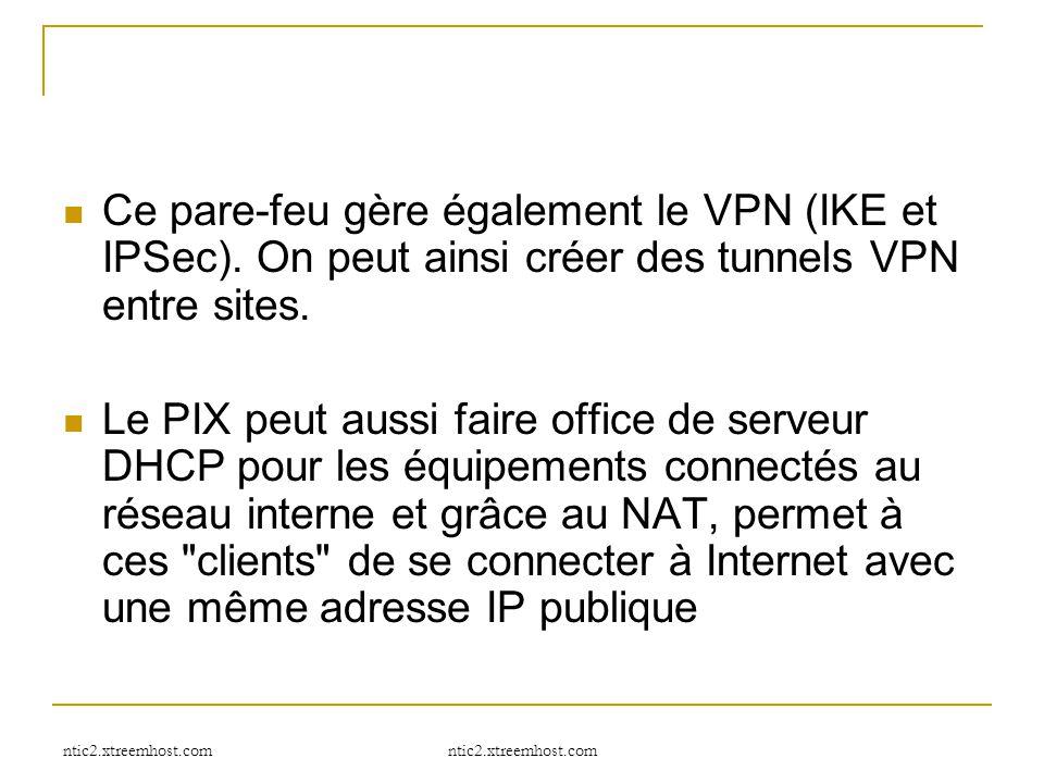 Ce pare-feu gère également le VPN (IKE et IPSec)