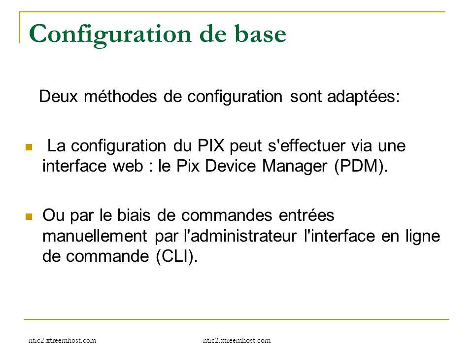 Configuration de base Deux méthodes de configuration sont adaptées: