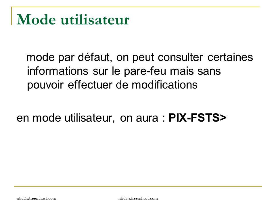 Mode utilisateur mode par défaut, on peut consulter certaines informations sur le pare-feu mais sans pouvoir effectuer de modifications.